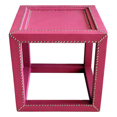 Badia Design Inc. - Moroccan Square Leather Side Table, Pink - Colorful Moroccan square side table made with stretch dyed leather and silver metal buttons. This makes for a unique and colorful table that can be used in any room in your home, apartment or office.