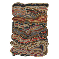 "Surya - Surya Gypsy GYP-202 (Olive Gray, Midnight Green) 3'3"" x 5'3"" Rug - The Gypsy collection by Surya is full of eclectic colors and bizarre, swirling patterns. These rugs are hand tufted from 100% wool and do not adhere to the standard rug shape. They feature sporadic edges and spontaneous shapes. This collection's color palette consists of laurel green, mossy stone, dark slate blue, and carnelian. These neutral color palettes ensures these somewhat unorthodox rugs can enhance any space."
