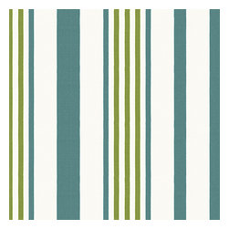 Teal, Green & White Stripe Outdoor Fabric - White, teal & green outdoor stripe that's just hankering for those wide open spaces. Recover your chair. Upholster a wall. Create a framed piece of art. Sew your own home accent. Whatever your decorating project, Loom's gorgeous, designer fabrics by the yard are up to the challenge!