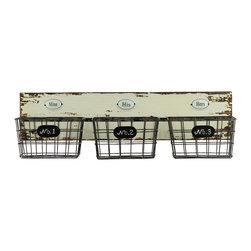 Wood/Metal Organizer w/ 3 Labeled Shelves - Distressed White - *Wood/Metal Organizer with 3 Labeled Shelves Distressed White