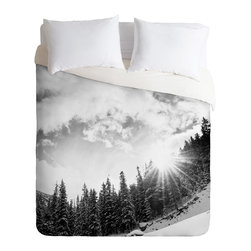 DENY Designs - Bird Wanna Whistle White Mountain Duvet Cover - Turn your basic, boring down comforter into the super stylish focal point of your bedroom. Our Luxe Duvet is made from a heavy-weight luxurious woven polyester with a 50% cotton/50% polyester cream bottom. It also includes a hidden zipper with interior corner ties to secure your comforter. it's comfy, fade-resistant, and custom printed for each and every customer.