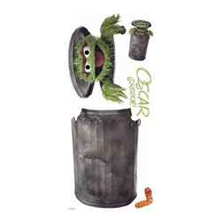 RoomMates Peel & Stick - Sesame Street Oscar Giant Wall Decal - What a grouch! this Oscar the grouch wall decal is a great addition to any kid's playroom bedroom or den. Oscar may love trash but moms will love how easily he can be removed from the wall without leaving any sticky residue behind. Pair Oscar with any of our other sesame street giant wall decals for a full room makeover!