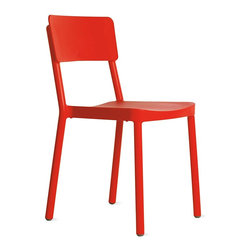 Design Within Reach - Lisboa Side Chair - Barcelona native Joan Gaspar began his career as a lighting designer, but it wasn't long before he was also working on furniture, interiors and even faucet systems. In 2002, the book Spoon – an overview of contemporary design published by Phaidon Press – listed him as one of the best new industrial designers, and for the last decade he has lectured at the Eina School of Design and Art in Barcelona. Always looking for traditional items that can be improved, Gaspar was inspired by the school's industrial steel chairs, which led to the colorful, fun Lisboa (2009). Lightweight, UV-protected and stackable up to 10 high, this chair serves well indoors and out. BIFMA approved and suitable for commercial use. Made in Spain. DWR Exclusive
