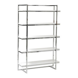 Euro Style - Euro Style Gilbert Bookshelf - White - 27537 - Shop for Bookcases from Hayneedle.com! The Euro Style Gilbert Bookshelf - White is sure to garner some attention with vibrant white shelves that boldly clash with a chromed steel frame in exquisite contemporary style. Five engineered wood (MDF) shelves provide sturdy platforms for books binders and more while the durable lacquered white finish purifies the modern style. The shelves ample wide-open design offer great storage or display. Great for not only your livingroom but try the kitchen too for storage or bakers rack style. Sturdy steel frame ensures lasting quality despite rigorous use. Give your treasures an ultra-modern place of prominence.About Euro StyleEuro Style is more than a brand name. It's a complete design approach for furnishing the living room dining room kitchen and office. Most Euro Style furniture can be assembled in under 15 minutes. Some can be assembled in under five minutes. Assembly instructions and the few tools you might need come inside the carton. Today there are hundreds of Euro Style products with new ones arriving every month. You'll discover Euro Style offers the right design at the right price.
