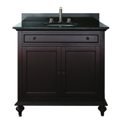 """Avanity - Avanity MERLOT-VS36-C Merlot 37"""" Vanity Set in Espresso with Vanity Top in Carre - Avanity MERLOT-VS36-C Merlot 37"""" Vanity Set in Espresso with Vanity Top in Carrera WhiteThe Merlot Vanity adds a touch of elegance to your bathroom that will work with traditional or transitional decor. The rich espresso finish is over a solid birch with a veneer construction. The cabinet offers soft-close hinges and a drawer(s) for storage. This vanity includes a granite stone countertop and backsplash and a white vitreous china undermount sink. Add a coordinating mirror to finish your beautiful bathroom (sold separately).Please see our Delivery Notes for Freight Shipments for products that are oversized and/or are too heavy to ship UPS ground. Avanity MERLOT-VS36-C Merlot 37"""" Vanity Set in Espresso with Vanity Top in Carrera White, Features:bull; Dimensions: 37"""" w x 22"""" d x 35"""" h"""