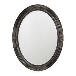 Howard Elliott - Howard Elliott 4081 Queen Ann Antique Black Mirror - Antique Black Mirror belongs to Queen Ann Collection by Howard Elliott This round, wooden mirror features a traditional, vintage design at each pole and is finished with antique black leaf. Mirror (1)