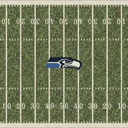 Milliken & Company - Seattle Seahawks Rectangular: 5 Ft. 4 In. x 7 Ft. 8 In. Rug - -Rich Team Colors, Diversity of NFL Designs,Stainmaster Treatment 10 year wear warranty  -Tufted  -Incorporates AlphaSan Antimicrobial  Milliken & Company - P533321-C01084-S201