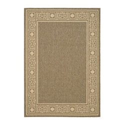 Safavieh - Transitional Power Loomed Rectangular Rug (7 ft. 7 in. x 5 ft. 3 in.) - Size: 7 ft. 7 in. x 5 ft. 3 in. Synthetic fiber. Machine made weave. Made from polypropylene. Coffee and sand color. Made in Belgium. Safavieh takes classic beauty outside of the home with the launch of their Collection. These rugs are suitable for anywhere inside or outside of the house. To achieve more intricate and elaborate details in the designs, Safavieh used a specially-developed sisal weave. Care Instructions: Vacuum regularly. Brushless attachment is recommended. Avoid direct and continuous exposure to sunlight. Do not pull loose ends; clip them with scissors to remove. Remove spills immediately; blot with clean cloth by pressing firmly around the spill to absorb as much as possible. For hard-to-remove stains professional rug cleaning is recommended.