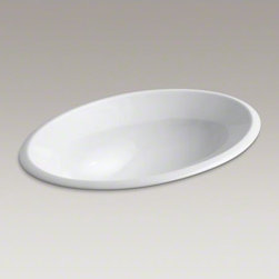 KOHLER - KOHLER Centerpiece(R) drop-in bathroom sink - The unique beveled ledge of the stylish Centerpiece sink helps keep water in the basin, lending elegant function to the bathroom. This sink's generously sized oval basin creates a striking design element that works with both contemporary and traditional b