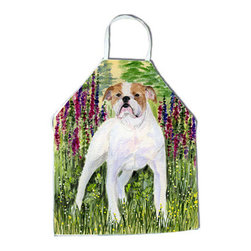 Caroline's Treasures - English Bulldog Apron - Apron, Bib Style, 27 in H x 31 in W; 100 percent  Ultra Spun Poly, White, braided nylon tie straps, sewn cloth neckband. These bib style aprons are not just for cooking - they are also great for cleaning, gardening, art projects, and other activities, too!