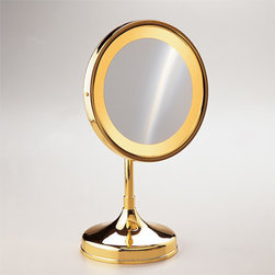 Windisch - Pedestal Round 3x or 5x Brass Magnifying Mirror - One face magnifying mirror. Made out of brass with a chrome and gold finish. Magnifying mirror from the Windisch Incandescent Mirrors collection. Made in brass and coated in chrome and gold. Luxury contemporary magnifying mirror for your luxury master bathroom. Imported from and manufactured in Spain.