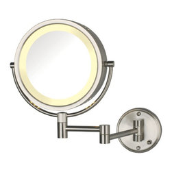 Jerdon HL75ND Hard-Wired 8.5-Inch Two-Sided Lighted Wall Mount Mirror w/ 8x Magn - The Jerdon HL75ND Hard-Wired 8.5-Inch Two-Sided Swivel Halo Lighted Wall Mount Mirror is used in luxury hotels and spas because of its convenience, sleek look and magnification. This fog free, two-sided circular mirror has an 8.5-inch diameter that provides 1x and 8x magnification options to make sure every detail of your hair and makeup are in place. The halo light design around the perimeter of the mirror and smooth rotation adjust to all angles for a dynamic point of view. An on/off rotary knob on the oval base will activate the halo lighting when you need it. The HL75ND extends 13.5-inches from the wall and can be easily moved around, while still being firm enough to hold for odd angles. This mirror has an attractive nickel finish that protects against moisture and condensation and is designed to be wall mounted. This item comes complete with mounting hardware and is designed as a hard-wire only application (does not have a power cord or plug).  This item can use the JPT25W replacement bulb (sold separately). The Jerdon HL75ND Hard-Wired 8.5-Inch Two-Sided Swivel Halo Lighted Wall Mount Mirror comes with a 1-year limited warranty that protects against any defects due to faulty material or workmanship. The Jerdon Style company has earned a reputation for excellence in the beauty industry with its broad range of quality cosmetic mirrors (including vanity, lighted and wall mount mirrors), hair dryers and other styling appliances. Since 1977, the Jerdon brand has been a leading provider to the finest homes, hotels, resorts, cruise ships and spas worldwide. The company continues to build its position in the market by both improving its existing line with the latest technology, developing new products and expanding its offerings to meet the growing needs of its customers.
