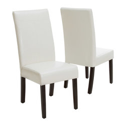 Great Deal Furniture - Emilia PU Leather Dining Chairs (Set of 2), Ivory - Our Emilia dining chair features smooth polyurethane and well padded seat. Build from a strong hardwood frame, the Emilia looks great around any dining table or useful as extra seating in any room.