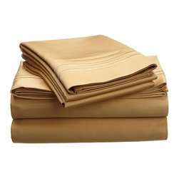 """Egyptian Cotton 800 Thread Count Embroidered Sheet Set - King - Gold/Gold - Bring a touch of elegance to your bedroom with this Egyptian Cotton 800 Thread Count Embroidered Sheet Set. This sheet set features a minimalistic but magnificent design consisting of embroidered colored lines atop sateen solid colored fabric creating an updated look to a classic design. Each set includes (1) Fitted Sheet: 78""""x80"""", (1) Flat Sheet: 108""""x102"""", and (2) Pillowcases: 20""""x40""""."""