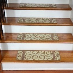 Dean Flooring Company - Dean Premium Carpet Stair Treads - Vanilla Scrollwork Set of 13 - Dean Premium Carpet Stair Treads - Vanilla Scrollwork Set of 13 : Beautiful Plush Premium Carpet Stair Treads by Dean Flooring Company. Luxurious and Resilient Texture. High Fashion Design with Beautiful Scroll Work. Densely Woven Construction. 100% Opulon (Polypropylene and Acrylic). Uncommon Softness and Durability. Premium Quality Broadloom is Woven Face-to-Face on State-of-the-Art Wilton Looms. Stylish Enough to Compliment the Finest Decors. Color: Vanilla. Approximately 26.25 inches by 9 inches. Set includes 13 pieces. Each tread is machine serged with color matching yarn Prevents slips on your hardwood stairs (treads must be securely attached to your stairs). Provides warmth and comfort. Extends the life of your hardwood stairs. Easy do-it-yourself installation with double-sided carpet tape (Not Included-sold separately) or other means. Add a touch of warmth and style to your stairs today!