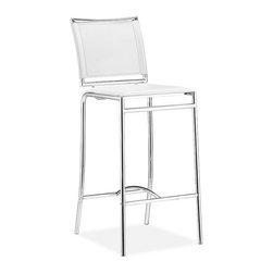 ZUO - Soar Bar Chair - White - Modern style is redefined by the Soar Bar Chair. Gleaming chrome lines and sleek leatherette cushioning give it a clean look. It's the perfect seat for a crisp gin and tonic.