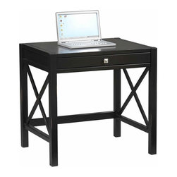 Linon - Linon Anna Laptop Desk in Distressed Antique Black - Linon - Computer Desks - 86111C12401KDU - Whether your style is traditional or modern the stunning Antique Black finish with red rub through Anna Lap Top Desk will blend seamlessly into your decor. Designed to be used as a writing desk or a lap top desk. Featuring a pull out keyboard tray and a spacious work top, you will be organized and efficient in no time at all.