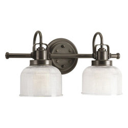 """Progress Lighting - Progress Lighting P2991-74 Archie Venetian Bronze Two-Light Bath Fixture - Features: -Bath vanity. -Archie collection. -Available in Venetian bronze and Antique nickel finishes. -Prismatic glass shade. -Crafted strap and knob. Specifications: -Accommodates: (2) 100W Medium base Incandescent bulbs. -Overall Dimensions: 8.75"""" H x 17"""" W x 7"""" D."""