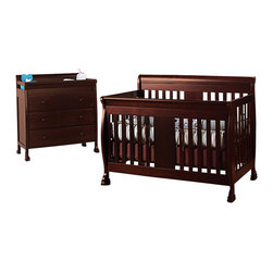 Da Vinci - DaVinci Porter 4-in-1 convertible Crib Crib and 3-drawer Changer in Cherry Inclu - Da Vinci - Baby Crib Sets - M8501CM8555Cpkg -