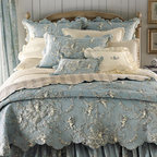 Pine Cone Hill - Traditional Sheet Sets - Vermicelli stitching makes a good thing even better, adding texture to your favorite toile. And it's even available in your choice of colors. Perfectly heavenly, if we do say so ourselves. Unquilted, matching dust skirts have an 18 drop. Box-quilted, solid-color coverlet mixes in nicely. For monogrammed boudoir pillow, specify three initials (monogram will be in color and style shown). Finished with striped tab tops, the curtains reverse from toile to stripes. Collection is made of cotton by Couleur Nature. Choose color below. Imported. Machine wash. To complement, we chose 200-count cotton Classic Ruffle sheeting and crochet-trimmed accessories by Pine Cone Hill. Sheet sets include flat and fitted sheets and case(s). Imported. Machine wash. A classic toile reverses to stripes in these curtains that match our linens. They're finished with striped tab tops. By Couleur Nature. Made of cotton. Machine wash. Choose color below. Imported.You will be able to specify personalization details after adding item(s) to your shopping cart. Orders for personalized items cannot be canceled, and personalized items cannot be returned.The Suggested Retail Price is the price recommended by the manufacturer. It is neither our present nor our former selling price.