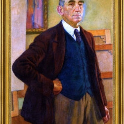 """Theo Van Rysselberghe-16""""x24"""" Framed Canvas - 16"""" x 24"""" Theo Van Rysselberghe Self Portrait in a Green Waistcoat framed premium canvas print reproduced to meet museum quality standards. Our museum quality canvas prints are produced using high-precision print technology for a more accurate reproduction printed on high quality canvas with fade-resistant, archival inks. Our progressive business model allows us to offer works of art to you at the best wholesale pricing, significantly less than art gallery prices, affordable to all. This artwork is hand stretched onto wooden stretcher bars, then mounted into our 3"""" wide gold finish frame with black panel by one of our expert framers. Our framed canvas print comes with hardware, ready to hang on your wall.  We present a comprehensive collection of exceptional canvas art reproductions by Theo Van Rysselberghe."""
