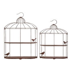 Open Cage Bird Shelves - Set of 2 - *Perfect for small fluttery figurines, this set of two open cage shelves feature feathery friends perched ever so eloquently in sculpted metal forms.