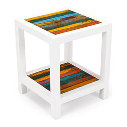 EcoChic Lifestyles - Second Wind Reclaimed Wood Side Table - Gorgeous geometric white rails frame two panels of reclaimed wood in the cubic Second Wind Side Table. This finish has been buffeted by wind and waves, and now it wears beautifully in your living room. A perfect size for the garden too.