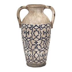 "IMAX - Montreal Large Handpainted Vase - Reminiscent of ancient Etruscan pottery, this beautiful handled vase will make a statement whether displayed alone or with your favorite floral filler. Item Dimensions: (18.5""h x 9.25""w x 12"")"
