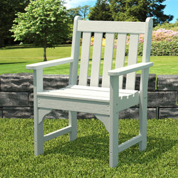 """Polywood POLYWOOD® Vineyard Garden Arm Chair in White - You don't have to live in wine country to enjoy the rich character of our stylish and eco-friendly Vineyard Garden Arm Chair Collection. Constructed from HDPE material – an incredibly durable material made from post-consumer bottle waste, such as milk and detergent bottles, these pieces are equally at home on a city deck or lakeside dock. Solidly constructed with stainless steel hardware, these pieces will stand the test of time and can withstand the elements with very little maintenance.  The Vineyard Garden Arm Chair will not absorb moisture and requires no waterproofing, painting or staining to maintain their bright color for years. The colors are blended into the material all the way through, and are UV-resistant. Minimal assembly is required. Available color: White Dimensions: 26""""H x 26""""W x 24""""D, Seat height – 17.25"""", Seat size – 17.25"""" x 20""""   Care: Wash with mild soap and water. They can be power washed at pressures below 1,500 PSI.Please allow 2-3 weeks to ship."""