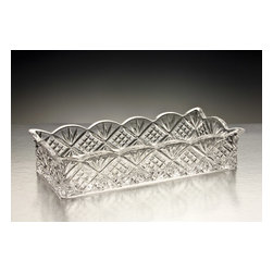 "Godinger Silver - Dublin Rectangular Bread Tray - Serve your fresh loaf of bread, mini rolls or perhaps some bread sticks in this impressive rectangular bread tray. Just place it as your table centerpiece and get ready for some compliments. To complete your decorated table, match this with our other Dublin crystal serveware pieces. Dimensions: Length: 13"", Width: 7"" and Height: 4""."