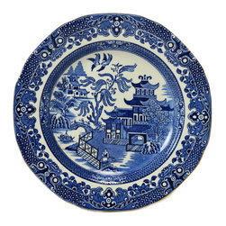 Lavish Shoestring - Consigned 6 Blue and White Willow Dinner Plates, Vintage English - This is a vintage one-of-a-kind item.