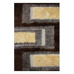 Rug - ~2 ft. x 3 ft. Shaggy Brown Hand-tufted Living Room Area Rug Doormat - Living Room Hand-tufted Shaggy Area Rug Door Mat