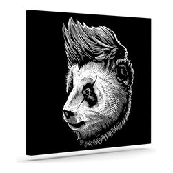 """Kess InHouse - BarmalisiRTB """"Funky Panda"""" Black White Wrapped Art Canvas (12"""" x 10"""") - Bring your outdoor patio to life with this artistic outdoor canvas wrap featuring gorgeous artwork by KESS InHouse. These canvases are not only easy to hang and remove but also are the perfect addition to your patio collection. These canvases are stretched around a wooden frame and are built to withstand the elements and still look artistically fabulous. Decorating your patio and walls with these prints will add the splash of art and color that is needed to bring your patio collection together! With so many size options and artwork to choose from, there is no way to go wrong with these KESS Canvas Wraps!"""