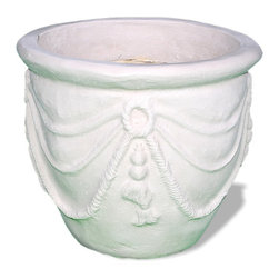 Amedeo Design, LLC - USA - Drapery Planter - This Spanish Drapery Planter, one of our most unique pieces, adds a special feel to any setting. A statement piece that can easily be a part of any interior/exterior decorative perspective. Though they look like ancient European & Mediterranean designs in carved stone, our products are made of lightweight weatherproof ResinStone. So authentic, you actually have to lift these planters to convince yourself they're not stone at all! Made in USA.