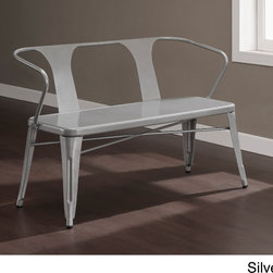 None - Tabouret Metal Bench with Back - This sturdy metal bench invokes a vintage industrial feel,but with a dynamic diagonal line construction. Composed of durable 100-percent steel,the scratch resistant powder coast finish ensures years of use.