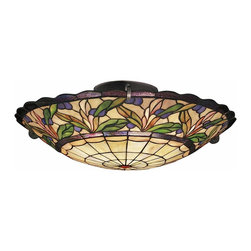 TIFFANY - TIFFANY 69038 Secret Garden Tiffany Art Nouveau Semi-Flush Mount Ceiling Light - TIFFANY 69038 Secret Garden Tiffany Art Nouveau Semi-Flush Mount Ceiling Light