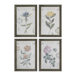 Uttermost - Le Jardin Des Fleurs Floral Art, Set of 4 - Bring a garden into your home with antique botany book style floral art pieces under glass with French descriptions. Sold in a set of four, the decorative blooms are stunning when arranged in a quartet in a kitchen, sunroom, atrium or a sunny living room. Frames are finished with an antique silver leaf and crackle accents.
