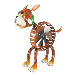 Zeckos - Cute Springee Spinner Dog Garden Statue Windmill - This cute Exhart Springee Spinner Dog garden statue makes a great addition to your garden or lawn decor. The legs and tail are on springs, so they'll rock back and forth when the wind catches them, and a 6 blade windmill in the center of the dog's body turns with the slightest breeze. The cast resin head shows wonderful personality, and the hand-painted brown lacquer finish offers a contrast to the greens of lush gardens. The statue is 11 inches tall, 10 inches wide, and has a protective UV coating to prevent fading. It makes a great housewarming gift