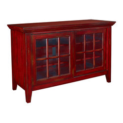 Hammary - Hammary T73199-99 Hidden Treasures Entertainment Console in Heavily Textured Red - The Hidden Treasures collection is a fabulous assortment of one-of-a-kind accent pieces inspired by the greatest furniture designs from around the world. Each selection is a true treasure - rich in old world icons and traditions. All the pieces in this collection are crafted with attention to every detail. From brass nailhead trim and exquisite hand-painting to elegant shaping and decorative trim, every item is a unique work of art. A wide variety of materials is used to create the perfect look and finest quality - from exotic woods, leather and stone to raffia and glass. The huge selection of finishes, hardware, exceptional carvings and other final touches offer unsurpassed versatility for any room in the home. Hidden Treasures includes cocktail tables, occasional and accent pieces, trunks, chests, consoles, wine racks, desks, entertainment units and interesting storage pieces. Place one in a comfortable reading nook... In the family room for flair and variety... In the foyer for a welcome look... In a bedroom for cozy style... Or in the office for function and versatility. The pieces in this collection mix beautifully with any decorating style and will easily become the focal point in any setting.