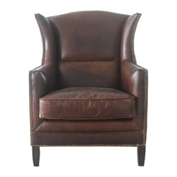 Wing Leather Chair - Wing Chair, Vintage Cigar