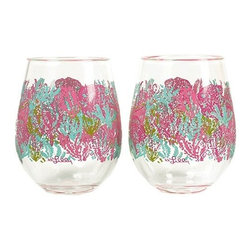 Lilly Pulitzer - Lilly Pulitzer Stemless Acrylic Wine Glasses (Set of 2), Let's Cha Cha - Our Lilly Pulitzer Stemless Acrylic Wine Glasses, Let's Cha Cha are perfect for outdoor entertaining. Only count the happy hours with these casually cute Lilly Pulitzer Acrylic Stemless Wine Glasses.