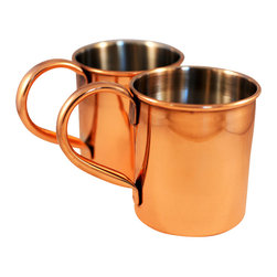 Custom Copper Mugs, LLC - Stainless Steel Lined Copper Mugs - set of 2 - The mug of choice when serving the infamous Moscow Mule--a cocktail made from a blend of vodka, ginger beer, and lime juice. The copper mug enhances the flavor and keeps the drink colder, longer.