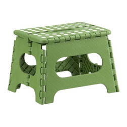 Folding Green Step Stool - Sturdy when you need it, this heavy-duty step stool folds flat for out-of-sight storage (see additional photos).