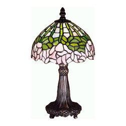 Meyda Tiffany - Meyda Tiffany 30312 Cabbage Rose Traditional Mini Table Lamp - A wreath of full blooming Passion Pink cabbage roses circle this beautiful stained glass shade in a design inspired by the Louis Comfort Tiffany studio. Bronzed Green leaves and stems form a pattern against an Opal sky in this lovely Mahogany Bronze finished mini lamp.