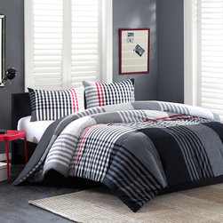Ink+Ivy - Ink+Ivy Blake Comforter Set - In crisp shades of grey, black and a pop of red, the oversized plaid on the Blake Comforter Set brings an urban feel to your bedroom with a yarn dyed, 100% cotton fabrication. This modern collection includes a comforter and two shams. Comforter/Sham: 100% cotton yarn dyed, 100% cotton percale solid reverse, 300 gram/sqm poly filling