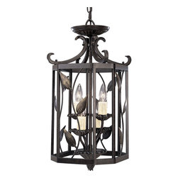 Progress Lighting - Progress Lighting Eden Traditional Foyer Light X-77-6963P - Progress Lighting presents to us the Eden, a traditional foyer light. Amber linen glass encapsulates this four-light foyer fixture and is a great choice for lighting up a foyer or entryway.
