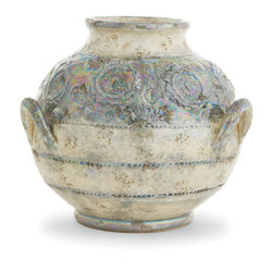 Arte Italica - Lustro Round Vase - The shape, colors and glaze of this lovely vase evoke a treasure discovered among ruins. Handmade in Italy, its rustic pattern and lustrous iridescence make it the perfect accent piece for your favorite setting.