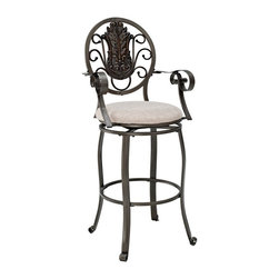 Powell - Powell Big & Tall Scroll Medallion Back Bar Stool with Arms Multicolor - 586-486 - Shop for Stools from Hayneedle.com! The Powell Big & Tall Scroll Medallion Back Bar Stool with Arms proves that in design the bronze medal gets first place at your high-top table or bar. Comprising a durable bronze metal base and plush chenille fabric upholstery this traditional tall stool is generously proportioned to comfortably accommodate people of all sizes. It's gorgeously detailed too with a rich round carved medallion back curled arms and curved legs and a comfortable footrest. Please note: Warranty applies to residential use only.
