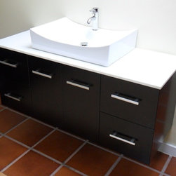"Modern Contemporary Bathroom Vanity *WALL MOUNT*, Espresso, 55"" - Cabinet is made out of  Pure Oak Wood"