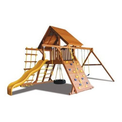 Superior Play Systems Original Playcenter with Wood Roof Swing Set - The local park is never any further away than the back door with the Superior Play Systems Original Playcenter with Wood Roof Swing Set. This complete play center is designed to get plenty of attention from your children and to withstand the elements so they can enjoy years of fun on this all-in-one set. The body is crafted from extra-thick timbers of North American cedar, a material that's smooth-sanded and resistant to rot, weathering and insects. A real wooden roof gives it that extra feel of a real tree house. Every side has something to do, from a rock-climbing wall to swings, a trapeze bar, rope ladder, wavy slide and a 360-degree tire swing in the middle. The swing chains are dipped in vinyl to help prevent the pinching of little fingers, and all the hardware is made from corrosion-proof materials that aren't afraid of the elements.About Kidwise ProductsThis item is made by Kidwise Outdoors, a company whose focus is safe, fun excitement for kids. Kidwise strives to promote safe play for kids of all ages through outside activities. Their line of products includes swing sets, trampolines, inflatable bouncers, bikes, sport goals and many other items to choose from. Kidwise guarantees all of their products against defects. Like Hayneedle, their goal is 100% satisfaction from customers. Their product lines focus on kid-friendly items that are fun to play with and stimulate balance and a healthy lifestyle for kids.